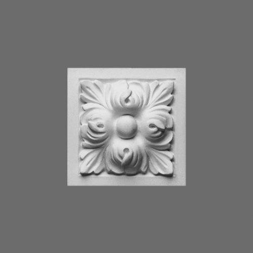 Orac D210 Wall Decoration 3 3/4'' square corner block for door, window, or wall frame. Primed White Polyurethane