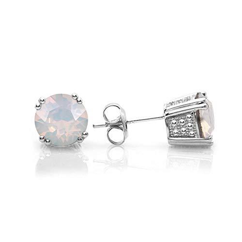 (Swarovski Stud Earrings, GLIMMERING October Birthstone White Opal Color Swarovski Earrings for Women and Girls, Swarovski Crystal Earring Studs with Certificate, Hypoallergenic Stud Earrings)