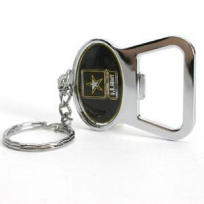 Stockdale Army Black Knights Metal Key Chain and Bottle Opener W/Domed Insert