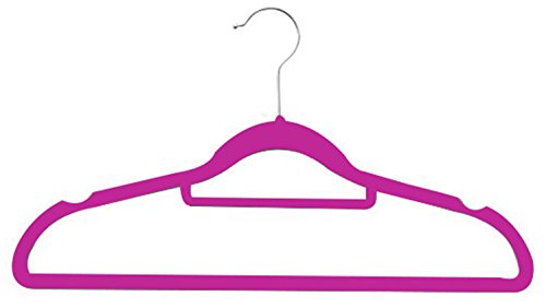 Zen Closet Ultra Thin Heavy Duty No Slip Velvet Suit Hangers with Tie Bar, 50 Pack, Fuschia, Fuchsia