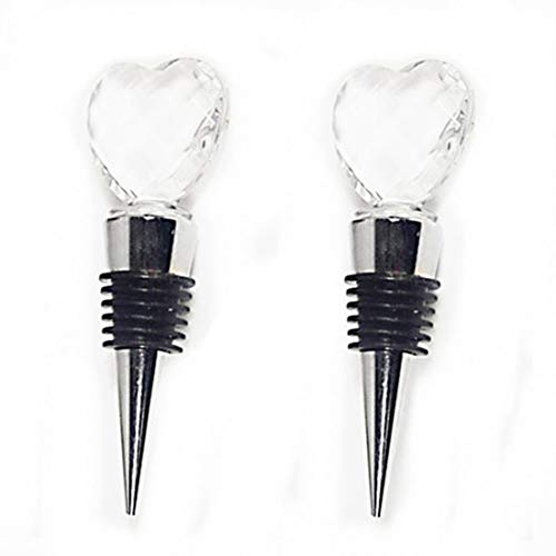 Crystal Heart Wine Stopper - 2 PCS Decorative Heart Crystal Wine Bottle Stopper Zinc Alloy Reusable Btoole Stopper with Gift Box (heart crystal)