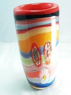M Design Art Handcraft Glass Huge Rainbow Millefiori Art Handcraft Vase N0104 Kitchen