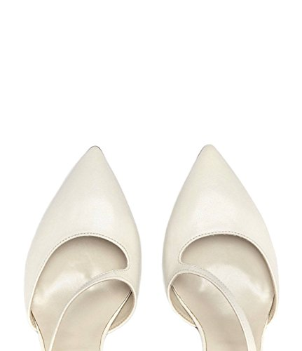 PoiLei Jessica - Women's Shoes/Pumps Made from Smooth Leather - mid-high Stiletto Heel and Pointed Toe - Dainty Straps White rbFBb