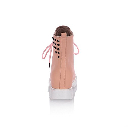 Pink Leather Boots Womens Chunky 1TO9 Imitated Bandage Heels Rivet 8YPqv0