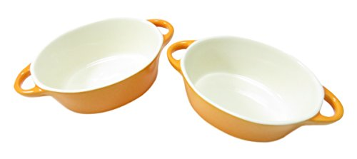 Au Gratin Bowl Dish Stoneware Oval 12 oz (Set of 2) Neon Orange (Small Oven Safe Dishes compare prices)