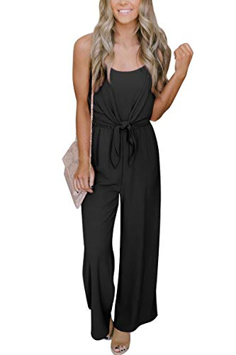 For G and PL Women Strap Casual High Waisted Wide Leg Jumpsuit Sleeveless Loose Tie Front Long Pant Romper Black S