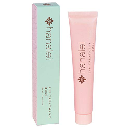 Cream Hawaiian Coconut Lip Gloss - Lip Treatment by Hanalei, Made with Kukui Oil, Shea Butter, Agave, and Grapeseed Oil Soothe Dry Lips, (Cruelty free, Paraben Free) MADE IN USA Rose (15g/15ml/0.53oz)
