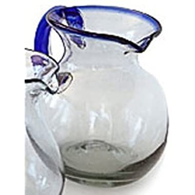 Mexican Glass Bola Pitcher Cobalt
