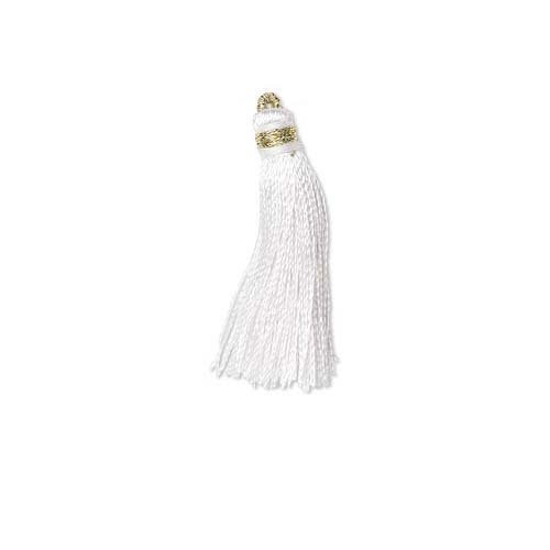 White Loop Fringe - 6 Little Tassel Charms, Imitation Silk 2 Inches Long with Gold Loop for Hanging (White)
