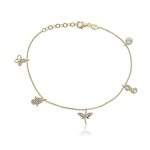 "10K Yellow Gold Simulated Diamond CZ Multi-shape Charm Bracelet with Hamsa : 8"""
