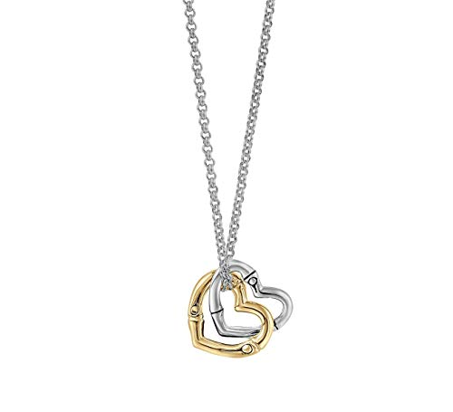 John Hardy Bamboo 18 k yellow gold & silver overlap heart charm pendant on a silver chain necklace with lobster clasp, with an adjustable necklace length of 16-18 inches. - NZ5850X16-18