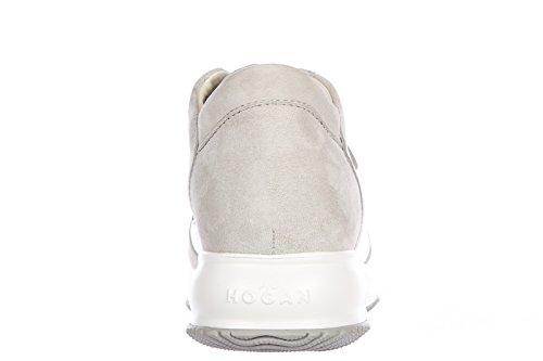 Hogan chaussures baskets sneakers femme en daim interactive h métal argent
