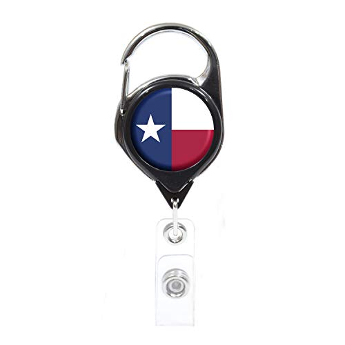 Officially Needed-Texas State ID Badge Holder Retractable, Black Carabiner Badge Clip | Great for Holding Name Tags, Light Tools Like Nail Clippers | Gifts for Teachers, Nurses, Professionals