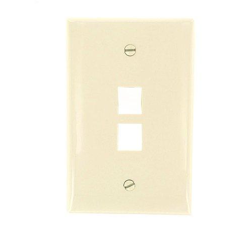 - Leviton 41091-2TN QuickPort Midsize Wallplate, Single Gang, 2-Port, Light Almond