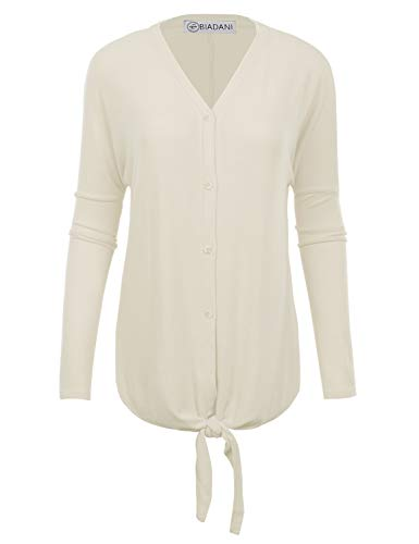 New Sweater Cardigan Womens - BIADANI Women's New Soft Terry Rayon Button Tunic with Tie Knot Ivory XX-Large
