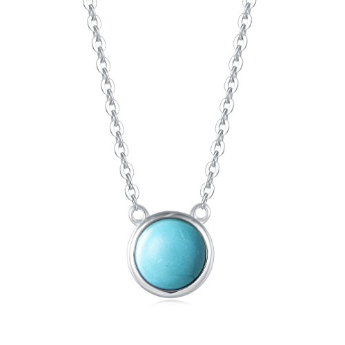 Carleen 18K White Gold Plated 925 Sterling Silver Round Created Turquoise Dainty Pendant Necklace for Women Girls with Silver Chain 16