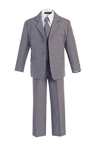 iGirlDress Boys Formal Dress Suit with Shirt and Vest Gray 3T