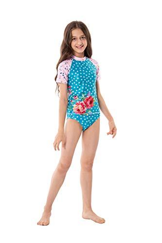 ShinyLuck Girls' Pretty Print 2-Piece Swimsuit (Short Sleeve 05, 10/12 - Sleeve Rash Girls Short Guard