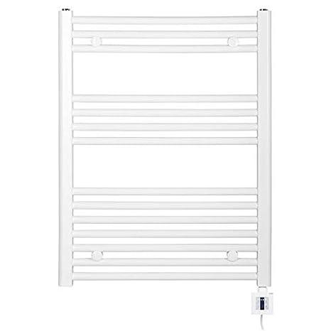Radiador Toallero eléctrico, blanco, recta, alta calidad, incl. Calentador y Calentador