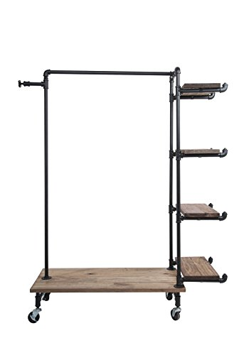Newtech Display IND-R4/BLK Single Rack with 4 Wood Shelves, Black by Newtech Display