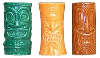 Hawaiian Tiki Shot Glass - Tiki Shot Glasses 2 Oz. Comes with Green, Orange, and Brown