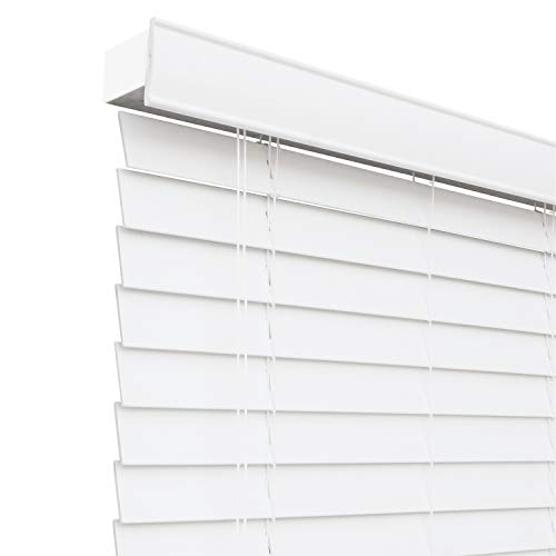 CHICOLOGY Custom-Made 2-Inch Faux Wood Blind, Simply White/Horizontal Window Shade/Inside Mount, 16″ W X 36″ H