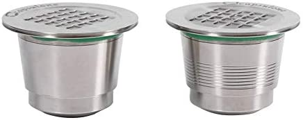 Cápsula de café reutilizable de acero inoxidable, con cuchara, aro estanco y cepillo de limpieza para máquina Nespresso, Poli-miroir+Fileté
