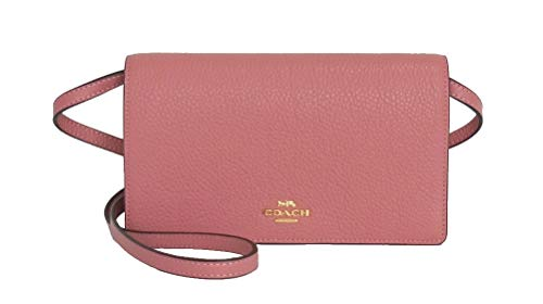 Coach Foldover Clutch Wallet Pebbled Leather Crossbody Bag F30256 (Vintage Pink)