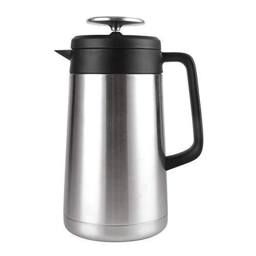 Stainless Steel French Press Coffee Maker (34 oz) - No More Wasted Premium Coffee! Maximum Heat Retention, Double Wall, Thermal Insulated. Large ...