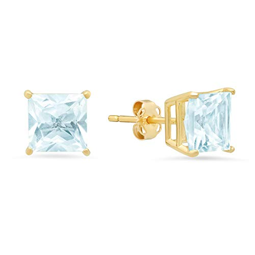 14k White or Yellow Gold Solitaire Princess-Cut Aquamarine Stud Earrings (7mm)