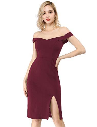 Allegra K Women's Off Shoulder Sweetheart Neck Slit Bodycon Party Midi Dress XS Burgundy