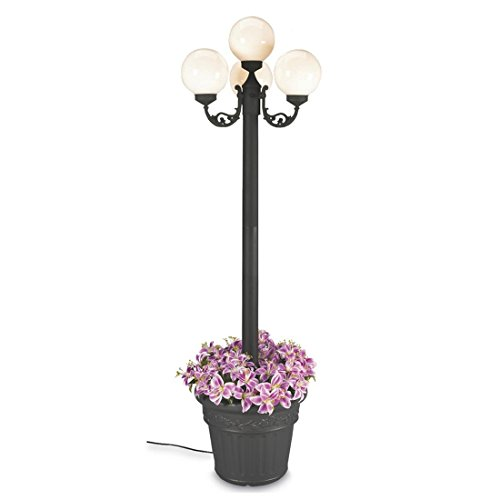 Living Patio Concepts Planter European (European 00390 Patio Lamp Black Body With Four White Globes and Planter 80-inches Tall)