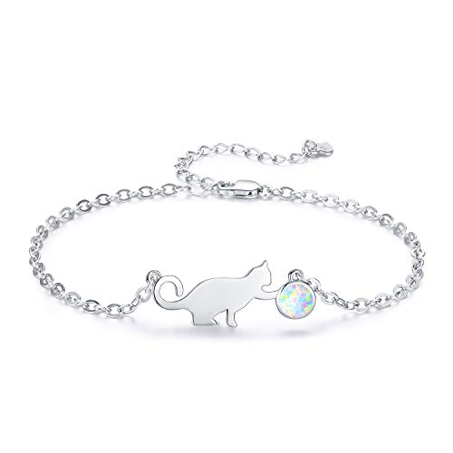 OEFCAN Cat Bracelet Charm Bracelet for Girls Women Opal 925 Sterling Silver Hypoallergenic Jewelry for Flower Girl,7in and 2in Extender with Gift Box(925 Sterling Silver Bracelet 1) ()
