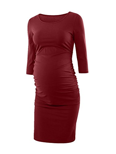Womens Ruched Maternity Bodycon Dress Mama Causual 3 4 Sleeve Wrap Dresses Wine Red Xl