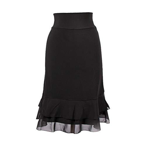 Peekaboo-Chic Iris Chiffon Half Slip Skirt Extender - Womens Skirt Extenders - Black Skirt Extender for Women - S/M Black (Lace Chiffon Skirt)