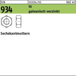 100 Sechskantmuttern DIN 934 Kl 10 verzinkt M16