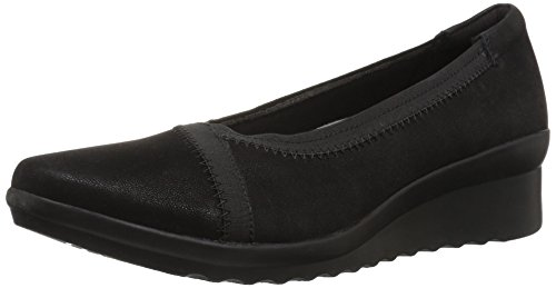 CLARKS Women's Caddell Dash Wedge Pump, Black Synthetic, 6 W