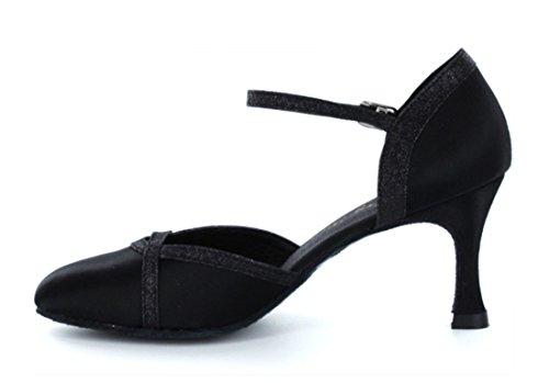 Tda Mujeres Classic Single Strap Glitter Satin Salsa Tango Ballroom Latin Modern Dance Boda Zapatos Negro