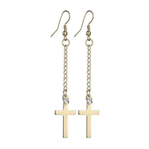 tone Cubic Zirconia Jesus Christ Cross Charm Long Tassel Dangle Earrings ()