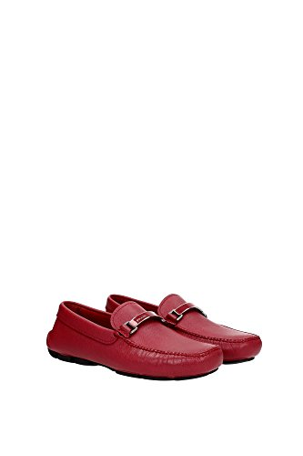 Prada Men's 2DD099 053 F0041 Saffiano Leather Loafers Red NuSilUX