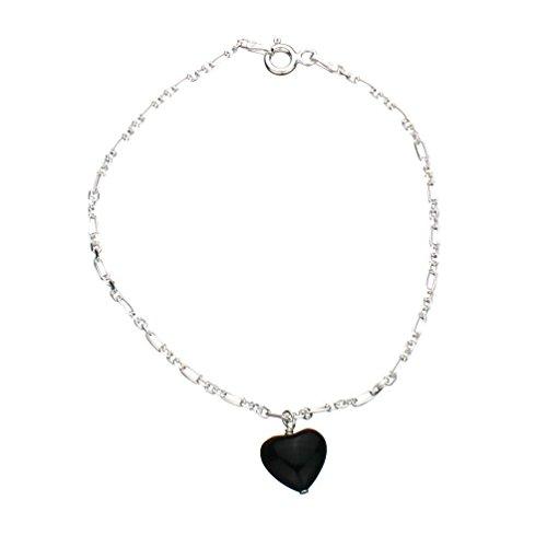 Sterling Silver Charm Bracelet Black Onyx Stone Heart, 7.5