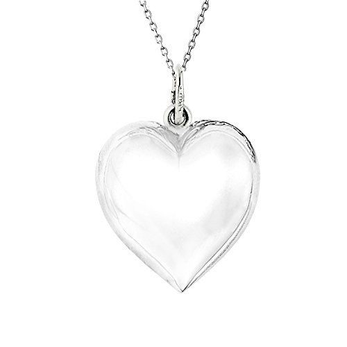 Ritastephens Sterling Silver Shiny Medium Puffed Heart Polished Charm Pendant Rolo Chain Necklace 24 Inches