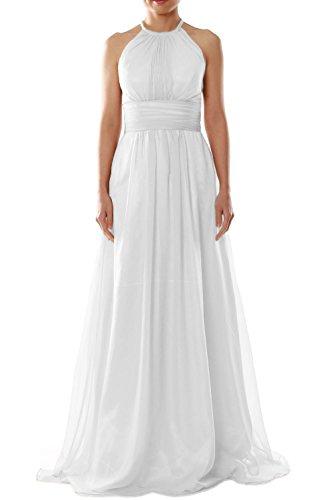 Women Party Evening Dress MACloth Halter Gown Weiß Wedding Chiffon Long Bridesmaid dApAw0