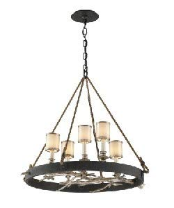 Troy Lighting F3446 Drift - Five Light Medium Dining Chandelier, Bronze/Silver Leaf Finish with White Pearl Glass