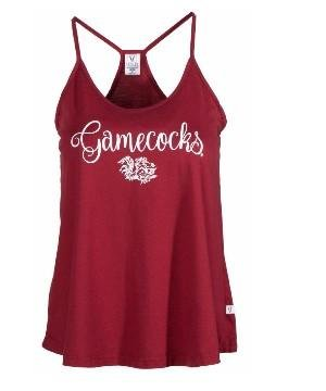 Official NCAA University of South Carolina Fighting Gamecocks USC COCKY SC Women's Lamp Shade Hi Low Tank