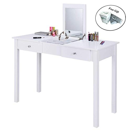 Dresser Natural Cherry Classic (CWY Vanity Table Dressing Table Mirror and 2 Drawers Only by eight24hours)