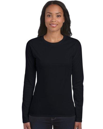 Damen-Gildan Soft Style Cotton Long Sleeve-lange Ärmel T-Shirt-Black-Medium-KOSTENLOSE LIEFERUNG