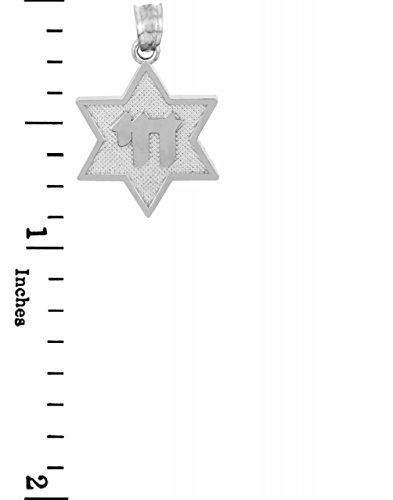 10 ct 471/1000 etoile de David Avec Chai Or Blanc Pendentif