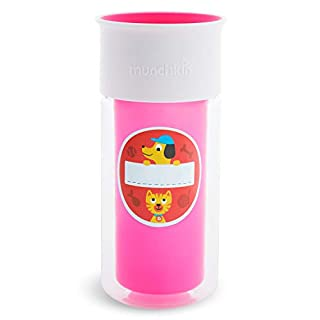 Munchkin Miracle 360 Insulated Sippy Cup, Includes Stickers to Customize Cup, 9 Ounce, Pink