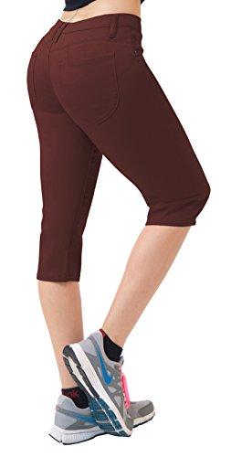 HyBrid & Company Women's Butt Lift Super Comfy Stretch Denim Capri Jeans Q43308 Brown 9 Brown Capri Pant